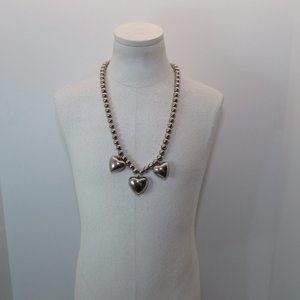 Vintage Silver Toned Beads And Hearts Necklace